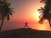 3D female in yoga position against tropical sunset landscape