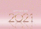 Happy New Yyear background with gold confetti