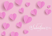 Happy Valentines Day background with folded hearts
