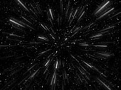 3D hyperspace background with warp tunnel effect