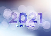 Happy New Year background with bokeh lights design