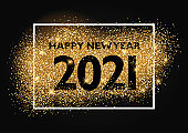 Happy New Year background with glittery gold design