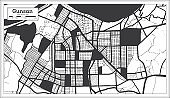 Gunsan South Korea City Map in Black and White Color in Retro Style.