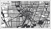 Rochester USA City Map in Black and White Color in Retro Style. Outline Map.
