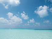 Tropical Maldives Panorama. Idyllic Landscape on Meeru Island with Cloudy Sky and Indian Ocean.