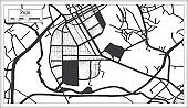 Paju South Korea City Map in Black and White Color in Retro Style.