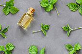 Glass bottle of nettle essential oil with fresh nettle twigs and leaves on grey rustic table, herbal medicinal oil concept ( urtica )