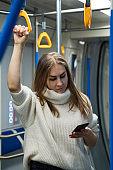 Girl in a subway car