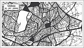 Gebze Turkey City Map in Black and White Color in Retro Style.