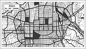 Xian China City Map in Blackand White Color in Retro Style. Outline Map.