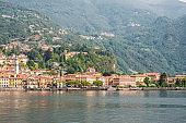 Panorama of Menaggio Town on Lake Como in Italy.