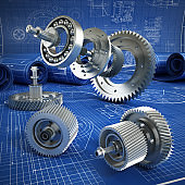 Blueprints and 3D metal machine parts. Mechanical engineering concept