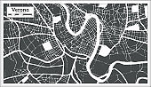 Verona Italy City Map in Black and White Color in Retro Style. Outline Map.