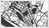 Goyang South Korea City Map in Black and White Color in Retro Style.