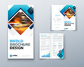 Bi fold brochure design with square shapes, corporate business template for bi fold flyer. Creative concept folded flyer or brochure. Set - GB075.