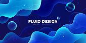 Liquid color background design. Blue Fluid gradient shapes composition. Futuristic design posters. Eps10 vector.