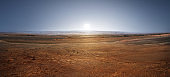 Sunset on planet Mars. Scenic desert scene on the red planet Mars.  Elements of this image furnished by NASA.