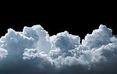 Clouds isolated on black background.