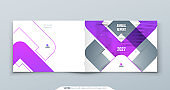 Purple Landscape Brochure Design. A4 Cover Template for Brochure, Report, Catalog, Magazine. Brochure Layout with Color Shapes and Abstract Photo on Background. Landscape Modern Brochure concept