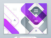 Purple Brochure Design. A4 Cover Template for Brochure, Report, Catalog, Magazine. Brochure Layout with Bright Color Shapes and Abstract Photo on Background. Modern Brochure concept