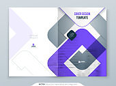 Violet Brochure Design. A4 Cover Template for Brochure, Report, Catalog, Magazine. Brochure Layout with Bright Color Shapes and Abstract Photo on Background. Modern Brochure concept
