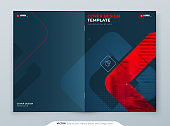 Red Brochure Design. A4 Cover Template for Brochure, Report, Catalog, Magazine. Brochure Layout with Bright Color Shapes and Abstract Photo on Background. Modern Brochure concept