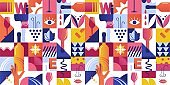 Abstract Seamless Pattern with Geometric Shapes and Wine Tasting Concept Elements.