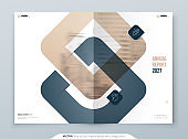 Biege Anual Report Design. A4 Cover Template for Brochure, Report, Catalog, Magazine. Brochure Layout with Bright Color Shapes and Abstract Photo on Background. Modern Anual Report Concept
