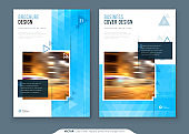 Brochure Design. A4 Cover Template for Brochure, Report, Catalog, Magazine. Layout with Bright Color Shapes and Abstract Photo on Background. Modern Brochure concept