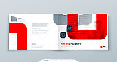 Horizontal Red Brochure Design. A4 Cover Template for Brochure, Report, Catalog, Magazine. Landscape Brochure Layout with Bright Color Shapes and Abstract Photo on Background. Modern Brochure concept