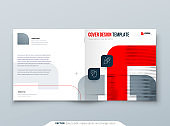 Suare Red Brochure Design. A4 Cover Template for Brochure, Report, Catalog, Magazine. Brochure Layout with Bright Color Suare Shapes and Abstract Photo on Background. Modern Brochure concept
