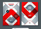 Red Annual Report Design. A4 Cover Template for Brochure, Report, Catalog, Magazine. Layout with Bright Color Shapes and Abstract Photo on Background. Modern Annual Report concept