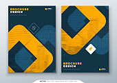 Dark Orange Brochure Design. A4 Cover Template for Brochure, Report, Catalog, Magazine. Layout with Bright Color Shapes and Abstract Photo on Background. Modern Brochure concept