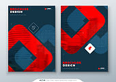 Dark Red Brochure Design. A4 Cover Template for Brochure, Report, Catalog, Magazine. Layout with Bright Color Shapes and Abstract Photo on Background. Modern Brochure concept