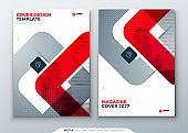 Red Magazine Design. Cover Template for Magazine, Brochure, Report or Catalog. Layout with Bright Color Shapes and Abstract Photo on Background. Modern Magazine Concept