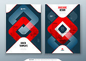 Dark Red Brochure Design. A4 Cover Template for Brochure, Report, Catalog, Magazine. Brochure Layout with Bright Color Shapes and Abstract Photo on Background. Modern Brochure concept