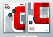 Red Catalog Design. A4 Cover Template for Brochure, Report, Catalog or Magazine. Layout with Bright Color Shapes and Abstract Photo on Background. Modern Catalog concept