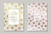 Set of luxury floral wedding invitation design or greeting card templates.