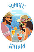 Summer holiday. Circle icon with an flat hand-draw illustration of a couple man and woman on a background of blue sea drink fruit cocktail under tropical trees . Vector