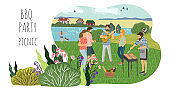 Picnic concept. Cute flat Vector horizontal illustration of mans and womans resting on the nature. Drawing by hand active people weekend with a barbecue.
