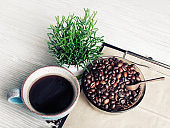 Coffee cup, plant, coffee beans
