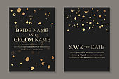 Wedding invitation with golden paint circles on a black background.