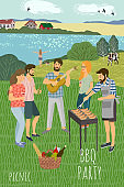 Picnic. Cute flat Vector illustration of mans and womans resting on the meadow against the background of the rural landscape . Drawing by hand active people weekend with a barbecue.