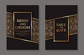 Set of modern geometric luxury wedding invitation design or card templates for business or presentation or greeting.