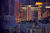 Night city. Moscow apartments at night. Russia.