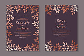 Set of modern floral luxury wedding invitation design or card templates for business or presentation or greeting.