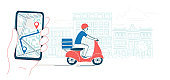 Mobile app navigator track courier delivering food by scooter
