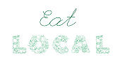Lettering EAT LOCAL pattern logo of groceries farm fresh fruits and vegetables.