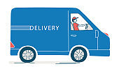 Courier delivering. Order from an online store, deliveryman driving van.