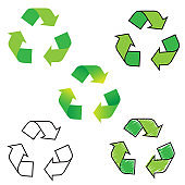 recycle sign. Recycled arrows set. Green color. Vector clip art